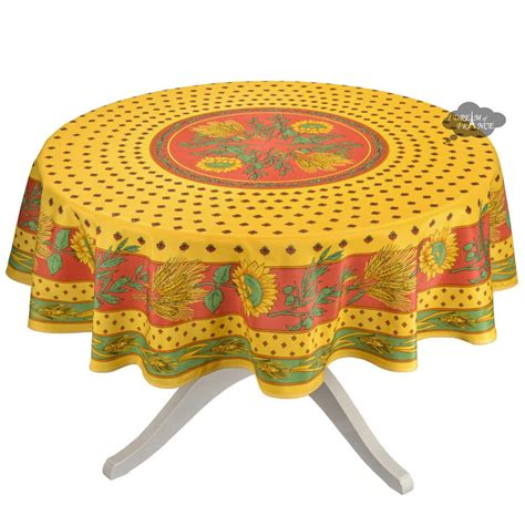 Tournesol Red Yellow French Provencal Tablecloth - Round .